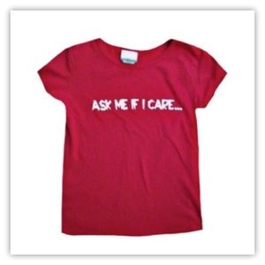 Announcements Red Graphic Short Sleeve Top
